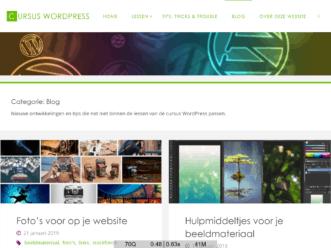 Screenshot van de website die hoort bij de Cursus WordPress van MK24